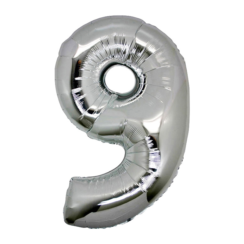 Number 9 Silver SuperShape Folyo Balon