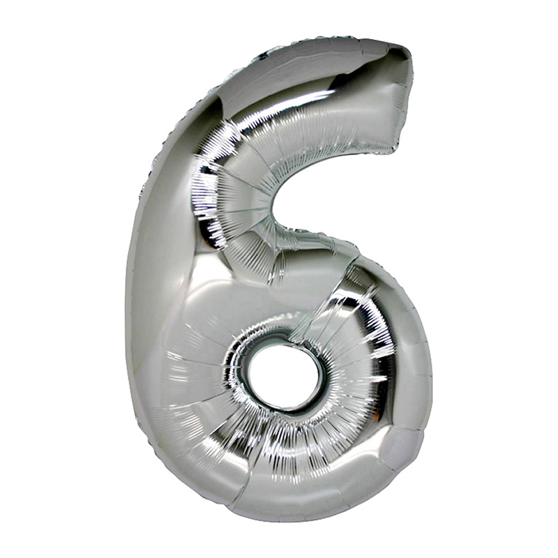 Number 6 Silver SuperShape Folyo Balon