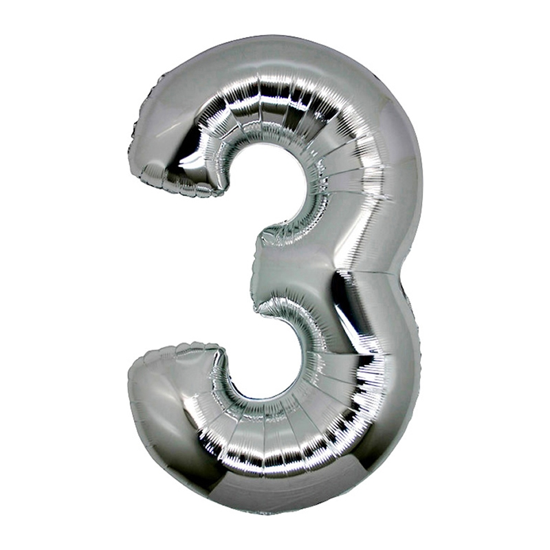 Number 3 Silver SuperShape Folyo Balon