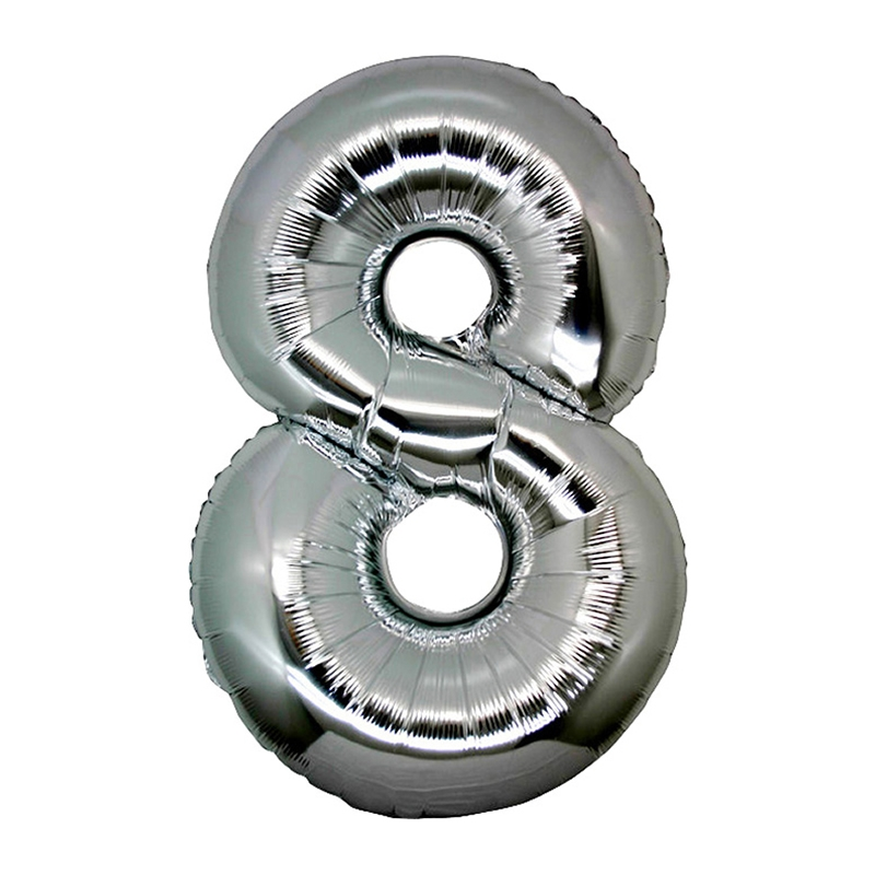 Number 8 Silver SuperShape Folyo Balon