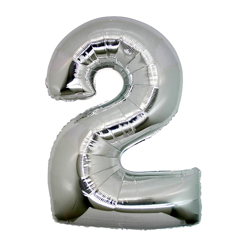 Number 2 Silver SuperShape Folyo Balon